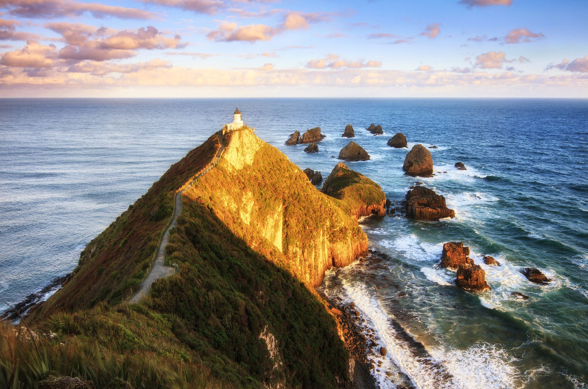 Nugget point lighthouse at sunset