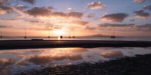 Sunrise from Waiake beach, Torbay.