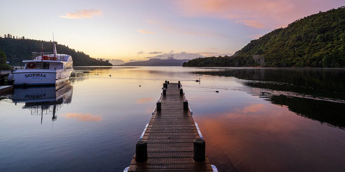 Lake Tarawera dawn pano